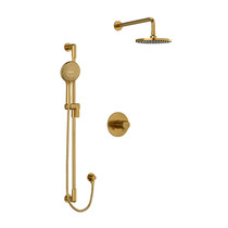 "Riobel Parabola Type T/P (Thermostatic/Pressure Balance) 1/2"" Coaxial 2-Way System with Hand Shower and Shower Head Brushed Gold"