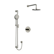 "Riobel Parabola Type T/P (Thermostatic/Pressure Balance) 1/2"" Coaxial 2-Way System with Hand Shower and Shower Head Polished Nickel"