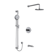 """Riobel Parabola Type T/P (Thermostatic/Pressure Balance) 1/2"""" Coaxial 3-Way System with Hand Shower Rail, Shower Head and Spout Kit Chrome"""