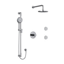 "Riobel Parabola Type T/P (Thermostatic/Pressure Balance) 1/2"" Coaxial 3-Way System, Hand Shower Rail, Elbow Supply, Shower Head and 2 Body Jets Kit Chrome"