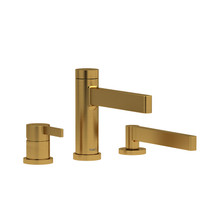Riobel Paradox 3-Piece Deck-Mount Tub Filler with Hand Shower Brushed Gold