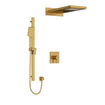 """Riobel Paradox Type T/P 1/2"""" Coaxial 3-Way System with Hand Shower Rail and Rain and Square Cascade Shower Head Brushed Gold"""