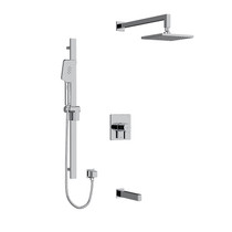 "Riobel Paradox Type T/P 1/2"" Coaxial 3-Way System with Hand Shower Rail, Square Shower Head and Spout Chrome"