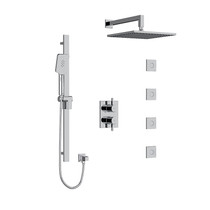 """Riobel Paradox Type T/P 3/4"""" Double Coaxial System with Hand Shower Rail, 4 Body Jets and Square Shower Head Chrome"""