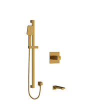 "Riobel Reflet 1/2"" 2-Way Type T/P Coaxial System with Spout and Hand Shower Rail Brushed Gold"