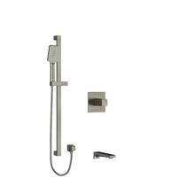 """Riobel Reflet 1/2"""" 2-Way Type T/P Coaxial System with Spout and Hand Shower Rail Brushed Nickel"""