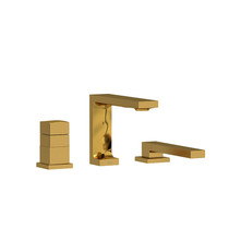 Riobel Reflet 2-Way 3-Piece Type T (Thermostatic) Coaxial Deck-Mount Tub Filler with Hand Shower Brushed Gold