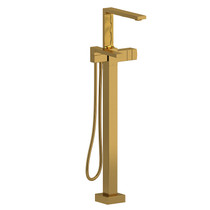 Riobel Reflet 2-Way Type T (Thermostatic) Coaxial Floor-Mount Tub Filler with Hand Shower Brushed Gold