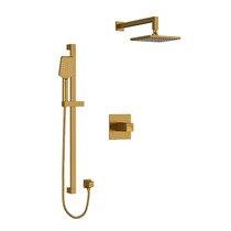 "Riobel Reflet Type T/P 1/2"" Coaxial 2-Way System with Hand Shower and Shower Head Brushed Gold"