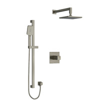 "Riobel Reflet Type T/P 1/2"" Coaxial 2-Way System with Hand Shower and Shower Head Brushed Nickel"