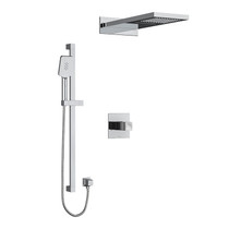 """Riobel Reflet Type T/P 1/2"""" Coaxial 3-Way System with Hand Shower Rail and Rain and Cascade Shower Head Brushed Nickel"""