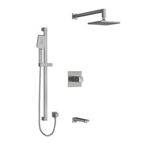 "Riobel Reflet Type T/P 1/2"" Coaxial 3-Way System with Hand Shower Rail, Shower Head and Spout Brushed Chrome"