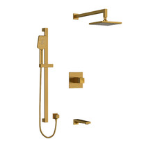 "Riobel Reflet Type T/P 1/2"" Coaxial 3-Way System with Hand Shower Rail, Shower Head and Spout Brushed Gold"