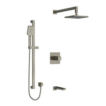 "Riobel Reflet Type T/P 1/2"" Coaxial 3-Way System with Hand Shower Rail, Shower Head and Spout Brushed Nickel"