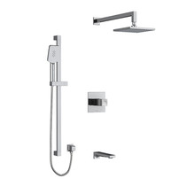 "Riobel Reflet Type T/P 1/2"" Coaxial 3-Way System with Hand Shower Rail, Shower Head and Spout Chrome"