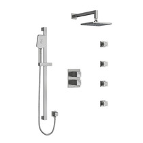 Riobel Reflet Type T/P Double Coaxial System with Hand Shower Rail, 4 Body Jets and Shower Head Brushed Chrome