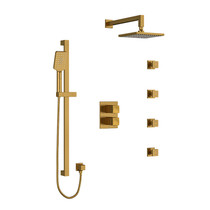 Riobel Reflet Type T/P Double Coaxial System with Hand Shower Rail, 4 Body Jets and Shower Head Brushed Gold