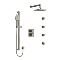 Riobel Reflet Type T/P Double Coaxial System with Hand Shower Rail, 4 Body Jets and Shower Head Brushed Nickel