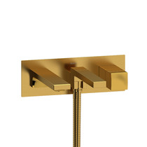 Riobel Reflet Wall-Mount Type T/P Coaxial Tub Filler with Hand Shower Brushed Gold