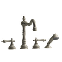 Riobel Retro 4-Piece Deck-Mount Tub Filler with Hand Shower Brushed Nickel