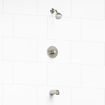 "Riobel Retro Type T/P (Thermostatic/Pressure Balance) 1/2"" Coaxial 2-Way No Share With Shower Head and Tub Spout Polished Nickel"