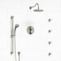 Riobel Retro Type T/P (Thermostatic/Pressure Balance) Double Coaxial System with Hand Shower Rail, 4 Body Jets and Shower Head Brushed Nickel