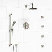 Riobel Retro Type T/P (Thermostatic/Pressure Balance) Double Coaxial System with Hand Shower Rail, 4 Body Jets and Shower Head Polished Nickel