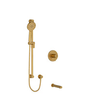 "Riobel Riu 1/2"" 2-Way Type T/P Coaxial System with Spout and Hand Shower Rail Brushed Gold"