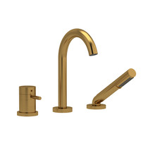 Riobel Riu 2-Way Type T (Thermostatic) Coaxial Deck-Mount Tub Filler with Hand Shower Brushed Gold
