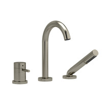 Riobel Riu 2-Way Type T (Thermostatic) Coaxial Deck-Mount Tub Filler with Hand Shower Brushed Nickel
