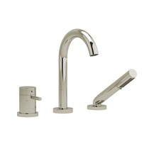 Riobel Riu 2-Way Type T (Thermostatic) Coaxial Deck-Mount Tub Filler with Hand Shower Polished Nickel