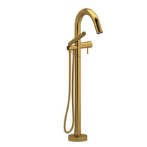 Riobel Riu 2-Way Type T (Thermostatic) Coaxial Floor-Mount Tub Filler with Hand Shower Brushed Gold