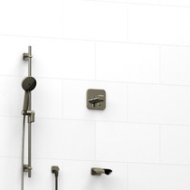 "Riobel Salome 1/2"" 2-Way Type T/P (Thermostatic/Pressure Balance) Coaxial System with Spout and Hand Shower Rail Polished Nickel"