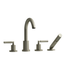 Riobel Sylla 4-Piece Deck-Mount Tub Filler with Hand Shower Brushed Nickel