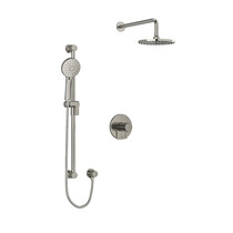 """Riobel Sylla Type T/P 1/2"""" Coaxial 2-Way System with Hand Shower and Shower Head Brushed Nickel"""
