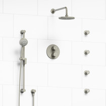 Riobel Sylla Type T/P Double Coaxial System with Hand Shower Rail, 4 Body Jets and Shower Head Brushed Nickel