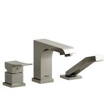 Riobel Zendo 3-Piece Deck-Mount Tub Filler with Hand Shower Brushed Nickel