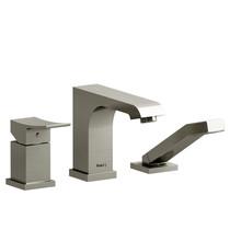 Riobel Zendo 3-Piece Type P (Pressure Balance) Deck-Mount Tub Filler with Hand Shower Brushed Nickel