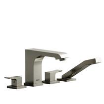 Riobel Zendo 4-Piece Deck-Mount Tub Filler with Hand Shower Brushed Nickel