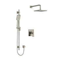 "Riobel Zendo Type T/P (Thermostatic/Pressure) 1/2"" Coaxial 2-Way System with Hand Shower and Shower Head Brushed Nickel"