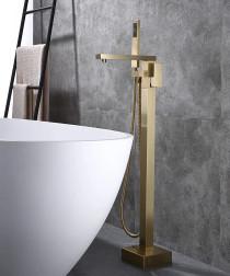 Royal Square Freestanding Tub Filler Faucet Brushed Gold