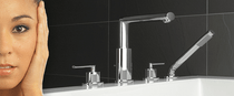 Usagi 4-hole deck mounted bath faucet with handheld shower