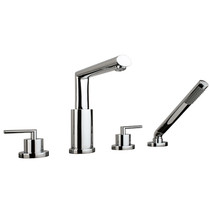 Rubi Usagi 4-hole deck mounted bath faucet with handheld shower Chrome
