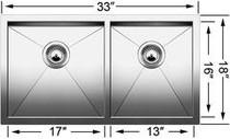 BLANCO QUATRUS U Stainless Steel Undermount 1 3/4 Bowl Sink 401244