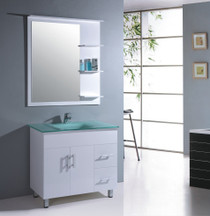"36"" Bathroom Vanity Mirror with Shelves White"
