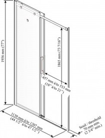 "Kalia Rollax Square -Alcove sliding shower door 2 panels clear glass 48""X 77"""