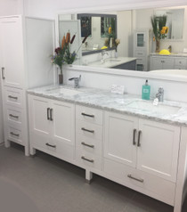 "Armada 90"" Bathroom Vanity & Side Cabinet Tower White"