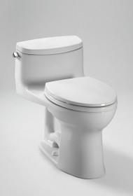 Toto Eco Supreme MS863113E#01 Vitreous China Lever Handle Floor Mount Round 1-Piece Toilet, 1.28 gpf