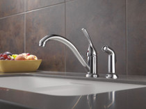 DELTA Single Handle Kitchen Faucet with Spray Chrome Finish