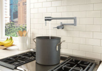 DELTA Contemporary Wall Mount Pot Filler Arctic Stainless Finish
